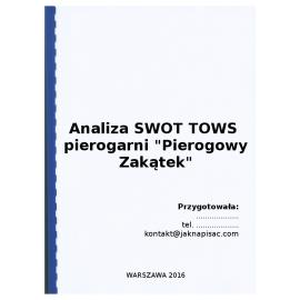 """Analiza SWOT TOWS pierogarni """"Pierogowy Zakątek"""" - przykład"""